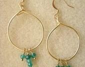 Green Agate Semi-Precious Gemstone Hoop Earrings