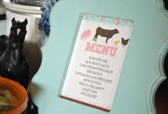 Shabby Chic Farm Menu Card