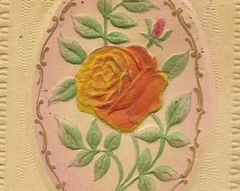Orange Rose on Vintage Bas Relief Birthday Postcard Flocked Rose Gottschalk Dreyfuss & Davis Seattle RPO cancel 1913