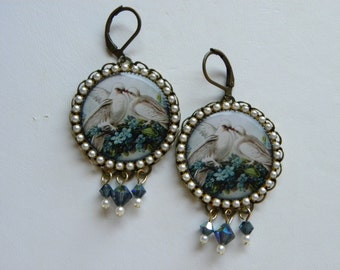 White Dove Earrings Shabby Chic Love Bird Earrings Victorian Bird Earrings