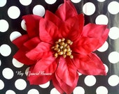 Large Red Poinsettia Hair Clip