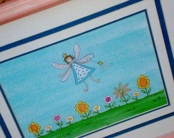 "Fairy Art  ""Garden Fairy"" Framed Print of Original Illustration Nursery Decor, Little Girl's Room"