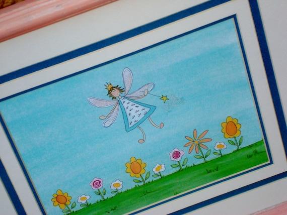 """Fairy Art  """"Garden Fairy"""" Framed Print of Original Illustration Nursery Decor, Little Girl's Room"""