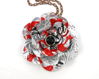 Simple Rose Pendant Necklace.  Recycled Soda Can Art.  Diet Coke