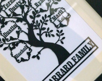 Papercut Family tree unframed with Family Name
