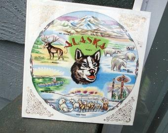 Alaskan Souvenir Trivet Hot Plate Tile Vintage