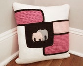 RESERVED Crochet Throw Pillow Pink/Brown/White Elephants, Decorative Pillow, Baby Girl Gift, Nursery, 16 x 16