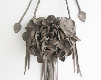 Taupe leather handbag messenger bag with braided strap, flower and leaves by Tuscada. Made to order.