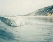 "Ocean Wave Surf Wall Art Seascape Beach Photography Teal Wall Art California Beach Print Teal Gray Decor Coastal Home  "" Rolling Through"""