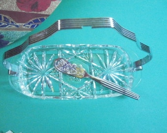 Vintage Fire King Star of David Butter Dish with Sheffield Silverplate Butter Knife, Serving Ware, Table Ware