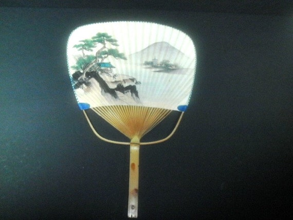 Vintage japanese paddle fan bamboo and paper hand painted - Japanese paddle fan ...