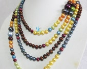 Long Pearl Necklace, Graduated Pearl Necklace, Multicolor Pearl Necklace, Gorgeous 80 inches Graduated Freshwater Pearls - Free shipping