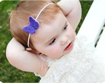 Purple Butterfly Felt Headband - Newborn Headband - Baby Headband - Toddler Headband - Girls Headband.