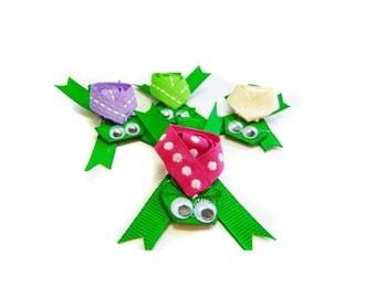 Turtle ribbon sculpture hair clip / girl hair clip / girl barrette / baby hair clip - U pick color.