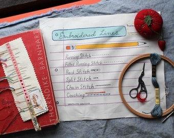 Embroidery Sampler- Penmanship Paper