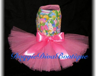 Dog Dress. Tutu Dress  Bunnies and Tulips, Bunny, Rabbit, XXS, XS, Small or Medium
