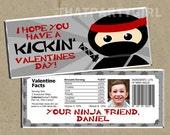 Ninja Valentines Day Cards Candy Bar Wrappers - DIY Digital U Print