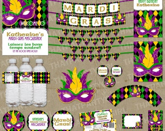 Mardi Gras Masquerade Party Package - Decorations - Favors - Banners - DIY Digital U Print