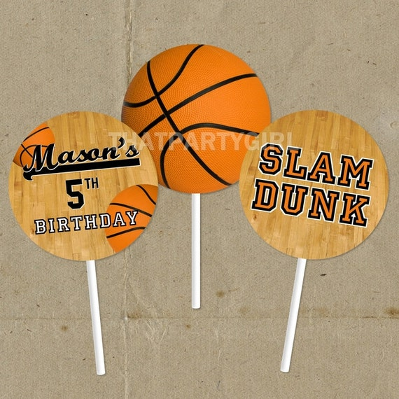 DIY Basketball Birthday Party Favor Tags Cup Cake Toppers