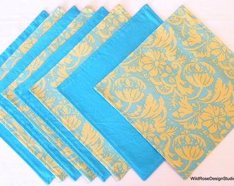 BOGO sale on now! Cloth Napkins in Green and Turquoise Modern Print - Reversible - Set of 8