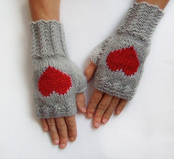 Knit Pattern Heart Mittens : Knit Fingerless Mittens Heart Fingelress Gloves Grey Womens
