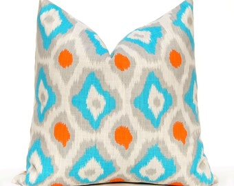 Euro Sham One 24 x 24 Throw Pillow Covers Turquoise, Orange and Gray on Natural Cushion Covers Decorative Pillows