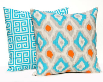 Decorative Pillow Covers - Turquoise and Orange - 22 x 22 Throw Pillow Covers - Turquoise Cushion Covers - Throw Pillows - Euro Shams