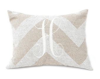 Chevron Monogram Pillow - Burlap Pillow Cover - Personalized Pillow Cover with Jumbo Single Initial - Letter Pillow - Housewarming Gift