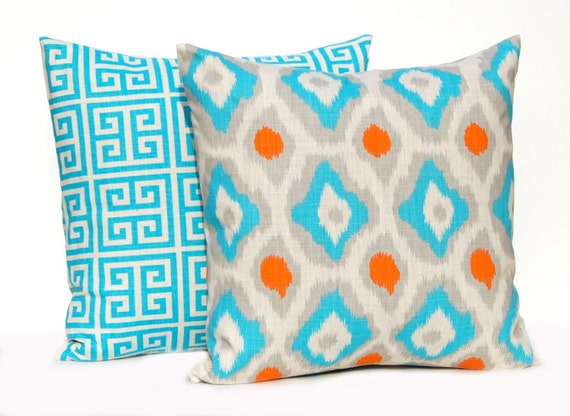 items similar to throw pillow covers turquoise orange and gray on natural 20 x 20 cushion. Black Bedroom Furniture Sets. Home Design Ideas