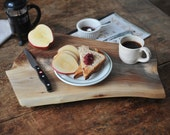New York Breakfast - Cutting Board Walnut Serving Tray Footed Platte - grayworksdesign