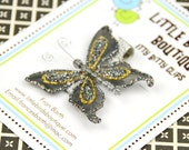 Baby Toddler Hair Clips/Bows - Grey Gold Butterfly
