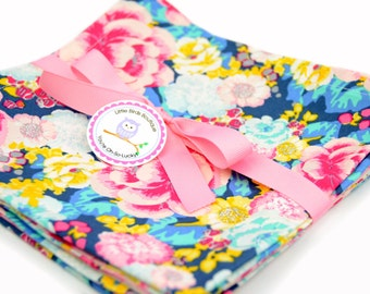 Cloth Napkins 15 Inch Set of 4 in FLORESSENCE - Art Gallery Fabrics - Acqua di Rose Bleu