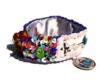 Cross scapular woven embroidered bracelet
