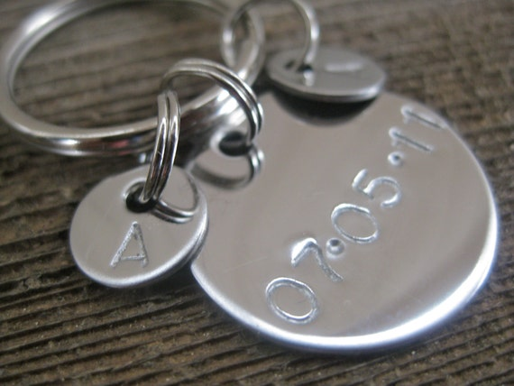 Wedding Keychain - Date and Initials - Stamped By Rawkette