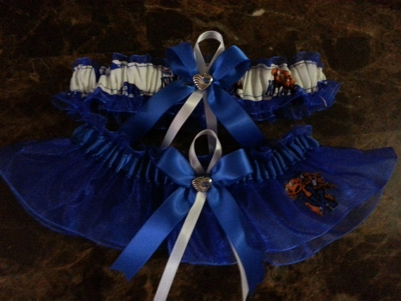 Royal blue University of Kentucky Wildcats organza Wedding Garterset any size.