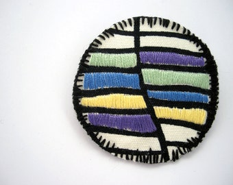 Embroidered brooch in purple, blue, yellow - color block jewelry - textile brooch