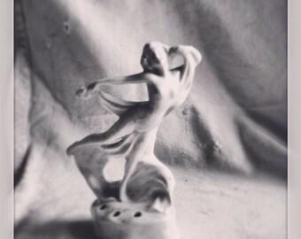 Antique flower frog figurine art nouveau woman 1930 Erphila Fayence Germany