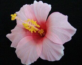 Pink Hawaiian Hibiscus  Realistic Flower Hair Clip