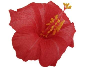Red Hawaiian Hibiscus Realistic Flower Hair Clip