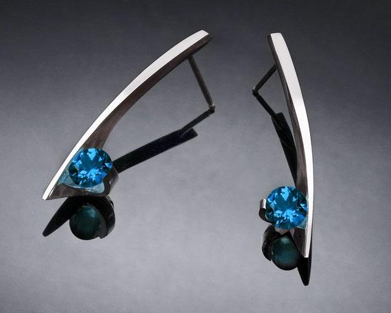 London blue topaz earrings, December birthstone, blue topaz, gemstone earrings, dangle earrings, artisan earrings, eco-friendly - 2458