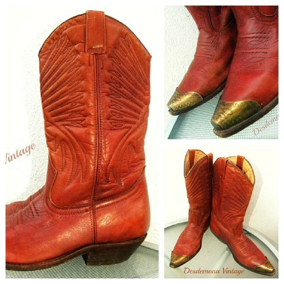 Vintage 70s LEATHER tan COWBOY boots METAL toe caps western south country boho