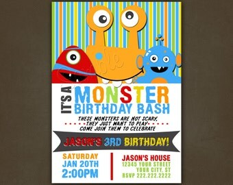 Monsters Bash Birthday Invitations Printable File