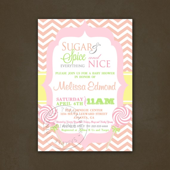 items similar to sugar and spice girls baby shower invitations