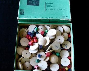 Vintage  Classroom Box of Wooden Beads Repurpose Milton Bradley