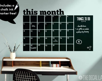 Chalkboard Calendar Wall Decal - Blackboard Decal Month - Free Chalk Ink Marker CHK-MCAL1