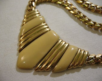 Vintage Gold Tone Necklace with Yellow Enameled Chevron