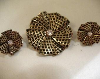 Vintage TRIAD Demi-Parure, Pin-Wheel Design, Gold Tone/Black Enamel