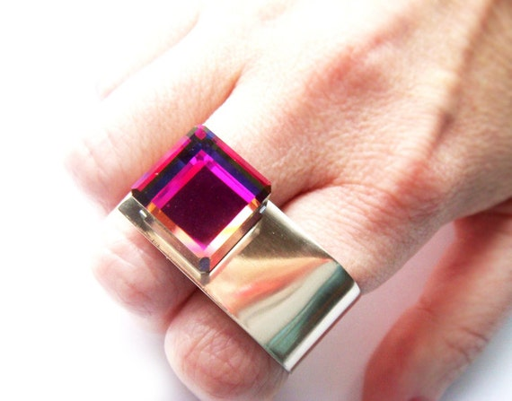 Swarovski Crystal Art Deco 3D Cube Statement Ring Made to Order Limited Edition