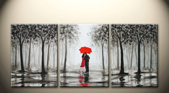 Wedding Gift Paintings: Large Original Abstract Painting Kissing In The Rainlove