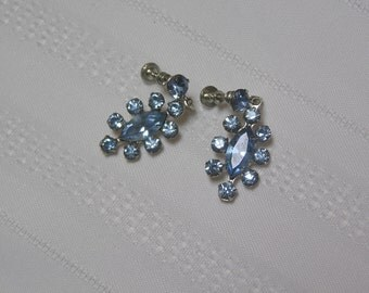Vintage Baby Blue  Marquis Cut and Round Rhinestone Screw back earrings